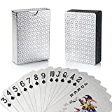 Joyoldelf Poker Playing Cards, Silver Foil Waterproof Deck Poker Card with Gift Box, Perfect for Party and Game