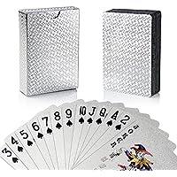 joyoldelf Jeu de Cartes, Jeu Carte en PVC Étanche Feuille d'argent avec La Boîte-Cadeau, Parfait pour La Fête et Le Jeu