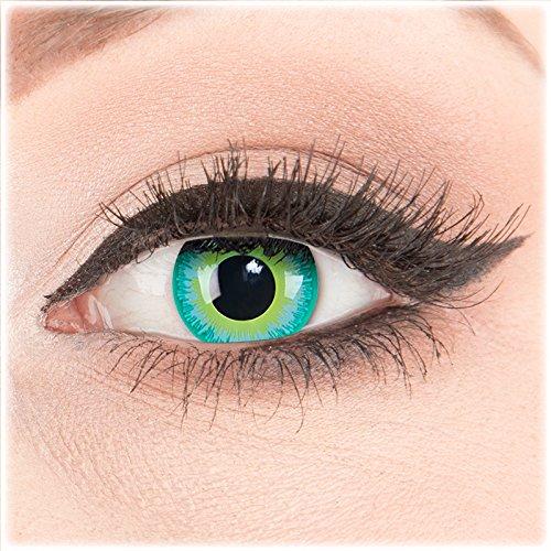 Farbige Kontaktlinsen zu Fasching Karneval Halloween 1 Paar Crazy Fun grüne 'Green Elf' mit Kombilösung (60ml) + Behälter in Topqualität von 'Glamlens' ohne Stärke (Halloween Make-up Neon Grün)
