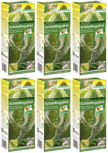 GARDOPIA Sparpaket: 6 x 200 ml Neudorff Neem Plus Schädlingsfrei gegen Läuse Thripsen Milben + Gardopia Zeckenzange mit Lupe