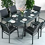 Ruby Tisch und 6 Georgia Stühle - GRAU | Ausziehbarer 180cm Esstisch mit passenden Stühlen