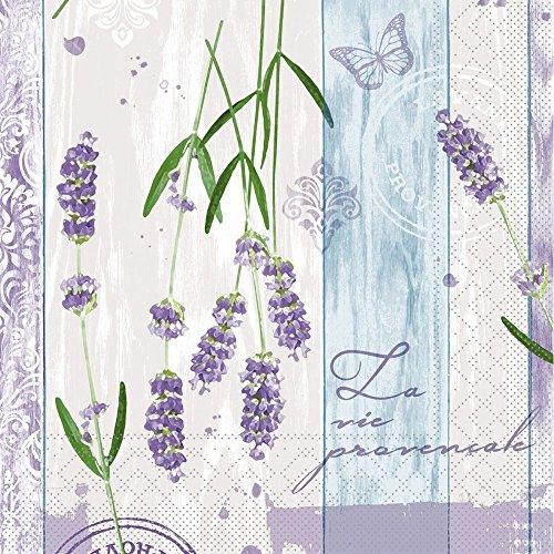 Sovie HORECA Serviette LAVINIA/ Tissue-Servietten 33x33 cm / saugstarke und hochwertige Einweg-Servietten / ideal für Hochzeit & Feiern im Frühling & Sommer / 100 Stück / Lavendel