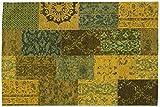 DALLIANCE CLASSIC Vintage Patchwork Velour Teppich in grün, Größe: 140x200 cm