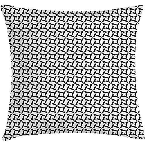 4 Stück 18X18 Zoll Monochrome Throw Pillow Kissenbezug,Geometrische Darstellung Von Unregelmäßig Geformten Zeitgenössischen Elementen,Home Decor Square Akzent Kissenbezug -