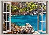 3D-Wandbild Geöffnetes Fenster - großformatig aus hochwertigem Vinyl - wiederverwendbar - Poster Blick aus dem Fenster - Wandtattoo Badezimmer Wohnzimmer - 3D Fototapete Ozean Fluss 85 x 115 cm