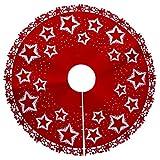 IrahdBowen Weihnachtsbaum Rock Luxus Weihnachtsstern Druck Baum Rock Unter Dem Weihnachtsbaum Als Bodenmatte Weihnachtsdekoration Raumdekoration Staubpolster 100 cm