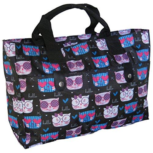 Stricktasche, Strandtasche , Handtasche (Katzen auf Schwarz) (Polyester Strandtasche)