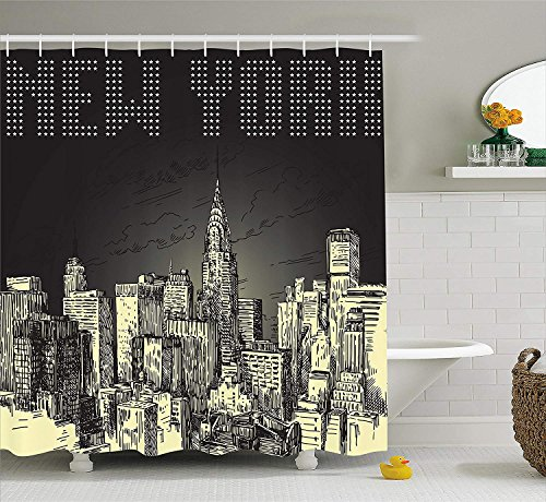 BUZRL New York Shower Curtain, Grunge Pop Art Style Retro NYC Sky with Iconic Empire States Building City Print, Fabric Bathroom Decor Set with Hooks, 66x72 inches, Yellow Grey