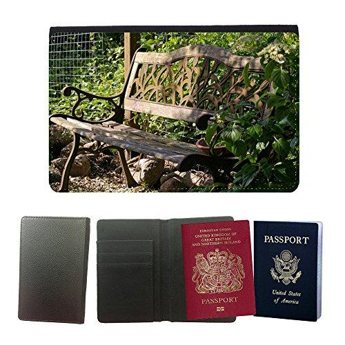 PU Pass Passetui Halter Hülle Schutz // M00290833 Garten-Bank Bank Lehne Sitz Holz // Universal passport leather cover