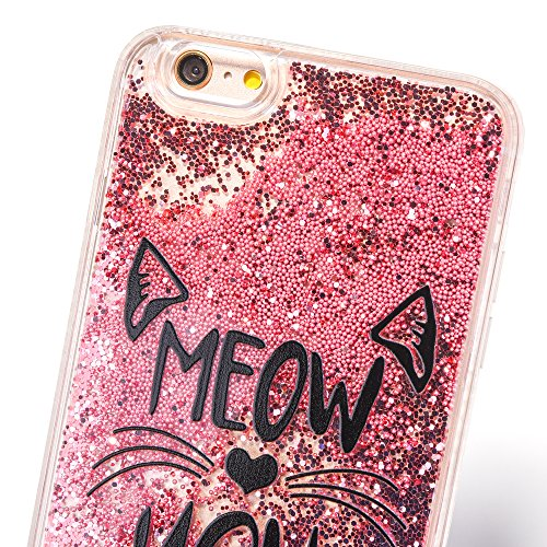 iPhone 6 Plus/6S Plus 5.5 Hülle, Voguecase Silikon Schutzhülle / Case / Cover / Hülle / TPU Gel Skin für Apple iPhone 6 Plus/6S Plus 5.5(Perlen Treibsand-girl boss-Gold) + Gratis Universal Eingabestif Perlen Treibsand-MEOW-Pink