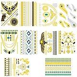 Emylikes Metallic Temporary Tattoos, Flash Tattoos, 10 Sheets, 150+ Designs Temp Tattoos Men Women Arm Tattoo Sticker Fake Tatoo Waterproof (Gold)