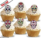PRE-CUT CALAVERA SKULLS EDIBLE RICE / WAFER PAPER CUPCAKE CAKE TOPPERS HALLOWEEN GOTHIC BIRTHDAY PARTY DECORATIONS
