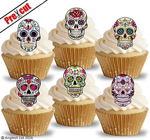 avera Skulls essbarem Reispapier/Waffel Papier Cupcake Kuchen Topper Halloween Gothic Geburtstag Party Dekorationen (Halloween Cupcakes Toppers)