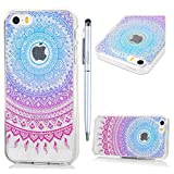 iPhone SE Case iPhone 5S Case iPhone 5 Clear Case MAXFE.CO Flexible Soft Crystal Clear TPU Silicone Case Shockproof Slim Fit Ultra Thin Rubber Case for iPhone SE iPhone 5 iPhone 5S with Rainbow Mandala Totem Flower Painting & One Touch Pen