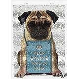 Un abrazo Pug Tarjeta de felicitación, tarjeta de cumpleaños, perro, Blank, lindo, gracias, todo ocasión