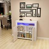 Commode de Eclairage LED Meuble de Rangement avec 4 Compartiments de Stockage + 2 Portes surSalon, Chambre, 107 x 35 x 97 cm