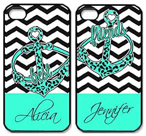 Best Friends Anchor iPhone 4 4S Case - Infinity Chevron Print iPhone Case - TWO Case Set (black side)