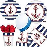 73-teiliges * ANCHORS AWEIGH * Anker PARTY SET für Kindergeburtstag mit Teller + Becher + Servietten + Tischdecke + Folienballon + Luftschlangen + Luftballons, u.v.m. // maritim Mottoparty See Meer