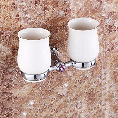 Badaccessoires Sets/Moderne Persönlichkeit voll Kupferstäbe Chrom Accessoires Anzug Bad Handtuchhalter Handtuchhalter, Double Cup