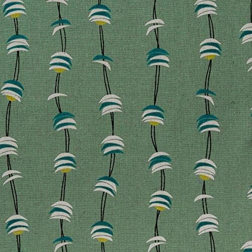 MIRABLAU DESIGN Stoffverkauf Baumwolle bedruckt mit einem grafischen Wellen Muster in weiß, türkis und gelb auf türkisfarbenem Grund (4-234M), 0,5m