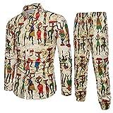 Freizeitanzug Sannysis Herren Freizeithemd Top Hosen Sets im Nationalen Stil Bedrucktes Langarmshirt Männer Urlaub Hawaiihemd Shirt 2 Sätze