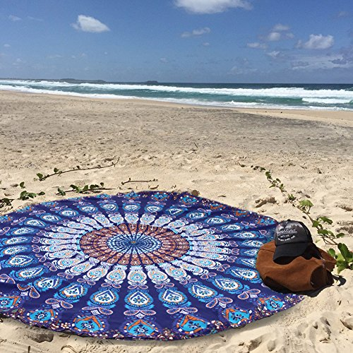 candora Beach towel-round Meditation Yoga Matte, Indian Boho Gypsy Baumwolle tablecloth-mandala rund Beach throw-hippie Hippie-style-throw Betten Tagesdecke, Gypsy, zum Aufhängen dekorativer Wandschmuck, blau Kleines Mädchen Ralph Lauren Kleidung