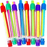 German Trendseller® - 12 x gomme fantaisie ┃ en forme de crayons ┃ mélange de couleur ┃ avec fonction coulissantes