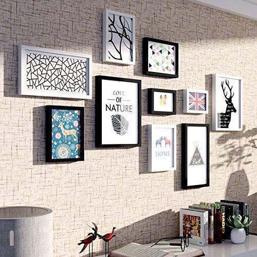 Patined mediterrane Dekorative Malerei Wandbild Wand Foto Frame Wand Composite Foto Wand American Nordeuropäischen Fresco Zeichnung Zimmer mit moderner Rahmen Gemälde, Schwarz und Weiß Einfach 10 Boxen (Kombination)
