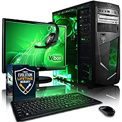 "Vibox Standard Pacchetto 3 Gaming PC con Gioco War Thunder, 21.5"" HD Monitor, 3.1GHz AMD A8 Quad Core Processore, Radeon R7 Chip Grafico, 1TB HDD, 8GB RAM, Case AvP Mamba, Neon Verde"