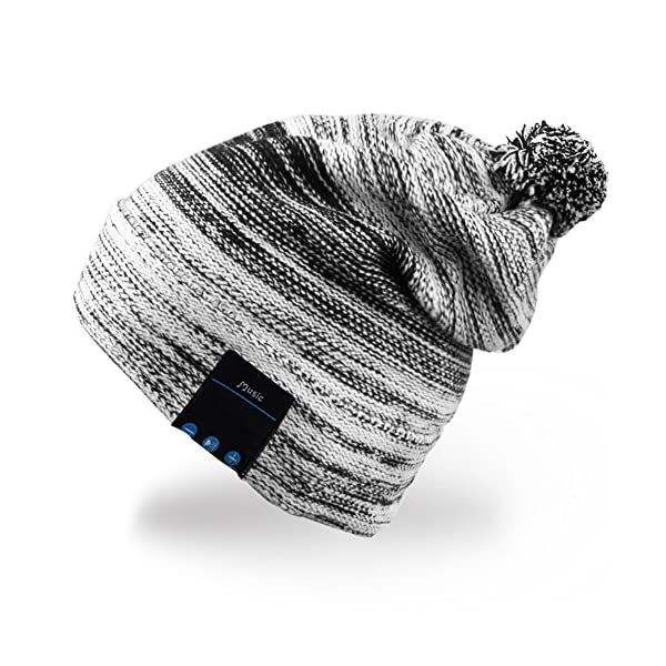 Rotibox-Winter-Comfy-Bluetooth-Beanie-Pom-Pom-Hat-wBasic-Knit-Music-Cap-with-Speakers-Mic-Hands-Free-Wireless-Bluetooth-Headphones-Headsets-for-Running-Skiing-Skating-HikingChristmas-Gifts-Black