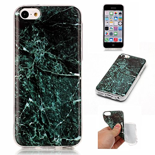 iPhone 5C Coque (Marbre), iPhone 5C Coque Transparente Silicone en Gel Tpu Souple, Housse Etui Coque de Protection avec Absorption de Choc et Anti-Scratch OUJD - Or bleu, rouge, eau de mer bleue Vert foncé, vert, jade blanc