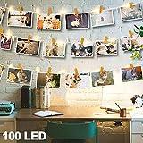 LED-Lichterkette, 100 LEDs, 10 m, aus Holz, batteriebetrieben, 50 Foto-Clips, Lichterkette mit Fernbedienung, 8 Modi, ideal zum Aufhängen von Fotos, Notizen, Gemälden, Karten, Memos, Innen- und Außendekoration, Warmweiß