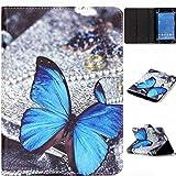 SZHTSWU Universal 8-Zoll Kunstleder Tablet Hülle, Magnetverschluss Farbmalerei Serie Blau Schmetterling Muster PU Leder Tasche Schutzhülle Flip Case mit Standfunktion für Alle 8
