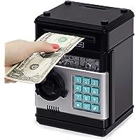 Highttoy Money Box for Kids Ages 3-12,Electronic ATM Money Safe for Kids Money Bank Piggy Bank for Boys Girls ATM Password Money Safe Savings Money Box for Girls Boys Kids Birthday Favors Black