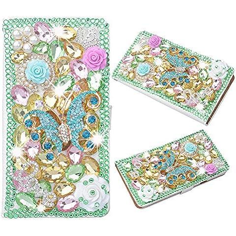 Spritech, fatta a mano, 3D, con gioielli, con diamante, (TM)-Cover Luxury-Custodia a portafoglio in ecopelle, (Superb Gioiello)