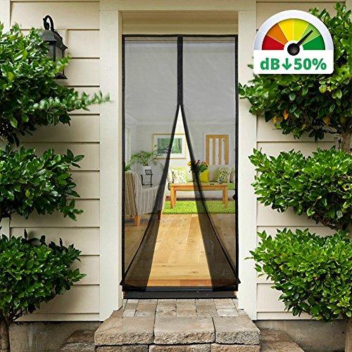 Sekey Magnet Fliegengitter Tür Vorhang Anti-Insekten, für Holz, Eisen, Aluminium Türen und Balkon. Einfache Installation, 210 * 90cm, Schwarz