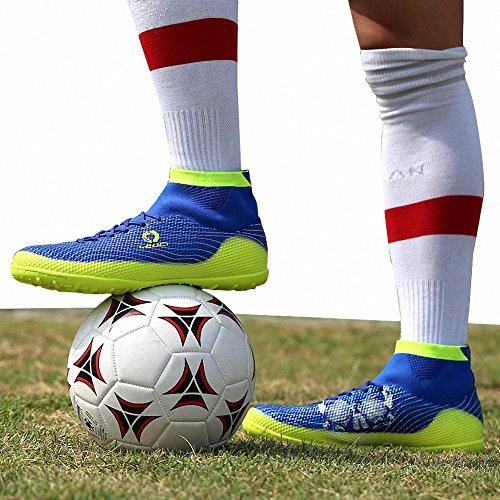 Ben Sports Tf AG FG Entraînement de Football Homme Garçon Boots Chaussures de Football Mixte Adulte Enfant,33-45 TF-Bleu