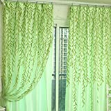 1m * 2m Curtains Rural Style Willow Leaves Pattern Offset Blind Printed Glass Yarn for Door Window Decor (Green,2pcs)