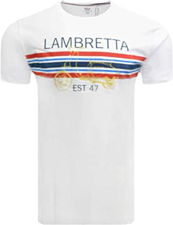 Lambretta Mens Classic Scooter Stripe Mod Ska Casual T-Shirts