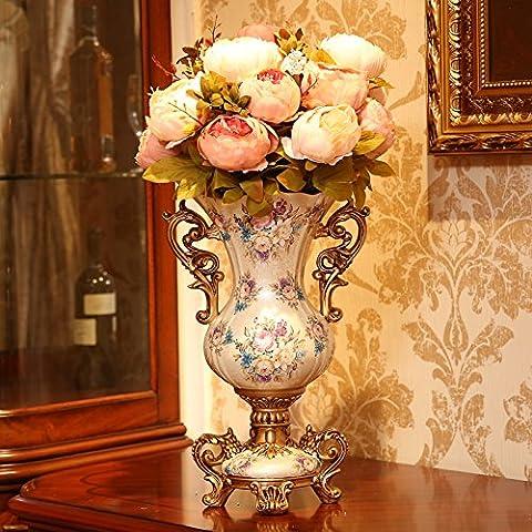 Fruot bols European American Décorations de table Décoration Vase Salon Meuble TV Floral Floral Décoration florale Creative Simulation Bas Largeur 17cm de large 26cm de haut 42cm Pink flower set