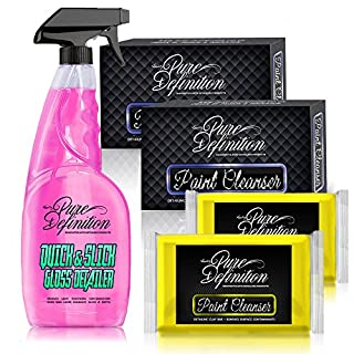 Pure Definition Car Clay Bar Detailing Kit, 200g Medium Grade Block and Detail Lube Spray - Amazing Paintwork Finish and Cleaning