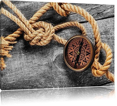 Schiffseil und Kompass auf Holzuntergrund B&W Detail, Format: 100x70 auf Leinwand, XXL riesige Bilder fertig gerahmt mit Keilrahmen, Kunstdruck auf Wandbild mit Rahmen, günstiger als Gemälde oder Ölbild, kein Poster oder Plakat (Knoten Leinwand)