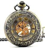 Infinito U Unique doppio-ora con cavo scheletro/cranio Unisex Ciondolo/collana orologio da taschino meccanico, in acciaio, 6 opzioni, colore: Marrone, cod. IUP376-bronze
