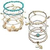 11 Pezzi Cavigliera da Donna, Cavigliera da Spiaggia Multistrato, Braccialetti con Perline in Lega Accessori per Gioielli da