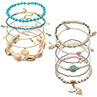 11 Pezzi Cavigliera da Donna, Cavigliera da Spiaggia Multistrato, Braccialetti con Perline in Lega Accessori per…