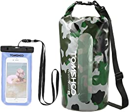 TOMSHOO Wasserfester Tasche 10/20L Trockentasche Dry Bag Packsack Trockenbeutel mit 6 Zoll Wasserfeste Handyhülle für Snowboarding Schwimmen Angeln, Segeln, Bootfahren