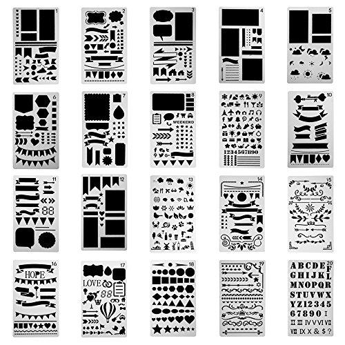 antner 20PCS Kunststoff Bullet Journal Schablone Set Tagebuch/Notizbuch/Tagebuch/Scrapbook DIY Elektroinstallationssymbole, 10,2x - Zeichnung Täglich Zeitschrift