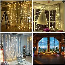 Salcar 3*3m 300 Leds Cortina de luz Led, Fácil de Conectar, Led Cadena de Luce Decorativas IP44 Impermeables con 8 Modos para Interiores y Exteriores, Jardín, Navidad, Boda, Fiesta (Blanco cálido)