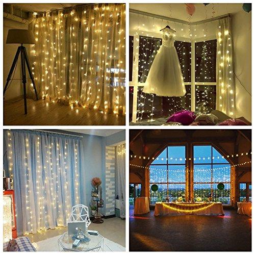 3*3m 300er LED Diamant Lichtvorhang Fernbedienung Home Dekorations Licht IP44 wasserfest Kupferkabel LED Lichterketten für Weihnachten / Deko / Party, Weihnachtsbeleuchtung, Hochzeit usw - (Dekorationen Home)