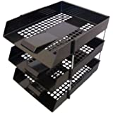 3 x BLACK PLASTIC FILING STORAGE LETTER TRAYS + 8 METAL RISERS RODS - DESK TIDY DOCUMENT PAPER FILING STACKING STACKER IN OUT